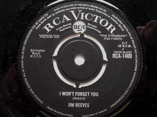 Jim Reeves I Won't Forget You/A Stranger's Just A Friend